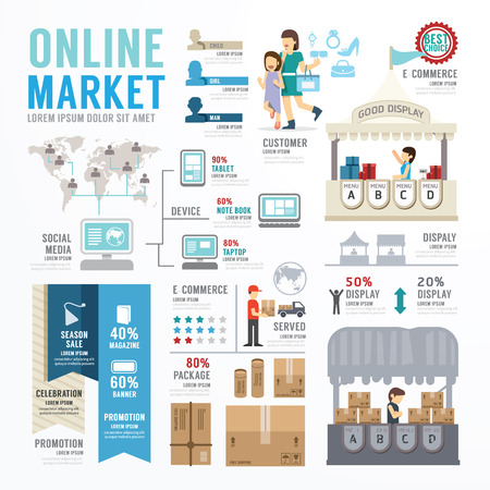Business Market Online Template Design Infographic . Concept Vector Illustration