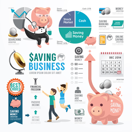 savings: Money Saving Plantillas Dise�o Infograf�a. Concepto de ilustraci�n vectorial