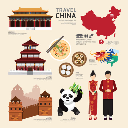 viajes: China, Piso Iconos Diseño Viaje Concept.Vector Vectores