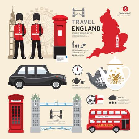 viagem: Londres, Reino Unido Icons design plano Concept.Vector Viagens Ilustração