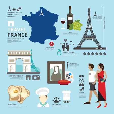 París, Francia Piso Iconos Diseño Viaje Concept.Vector Vectores