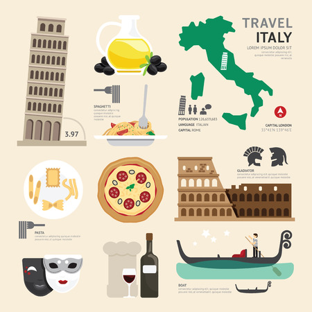 Italy Flat Icons Design Travel Concept.Vector Vector