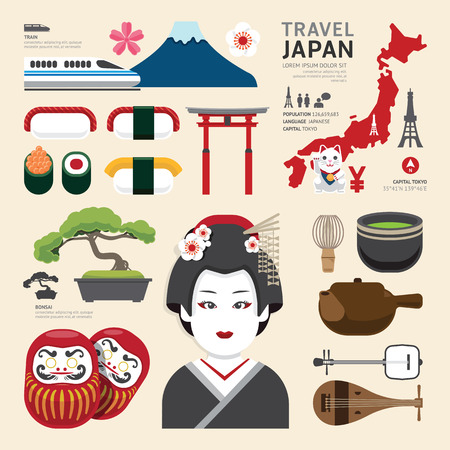일본의 플랫 아이콘 디자인 여행 개념입니다
