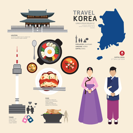 Korea Flat Icons Design Travel Concept.Vector Vector