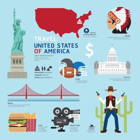 EE.UU. Piso Iconos Diseño Viaje Concept.Vector