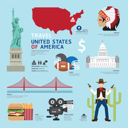 USA Flat Icons Design Travel Concept.Vector Иллюстрация