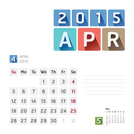 2015 Calendar Calendar Vector  Design. April Vector