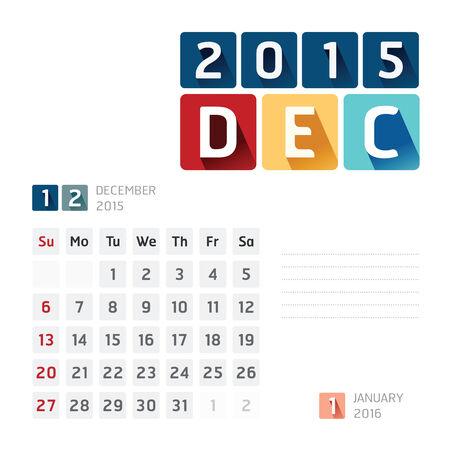 december: 2015 Calendar Calendar Vector  Design. December Illustration