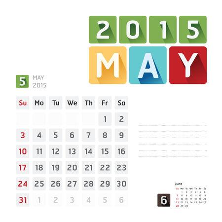 2015 Calendar Calendar Design.May Vector