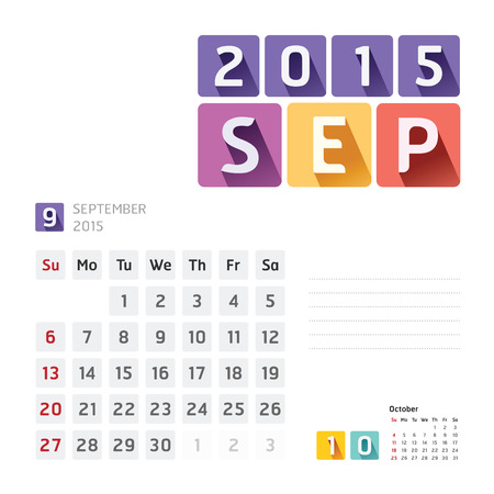 2015 Calendar Calendar Design. September Vector