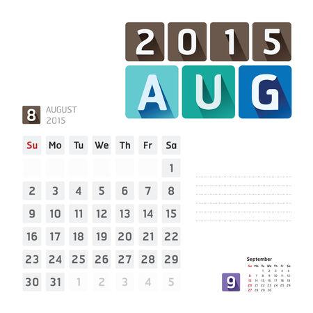 2015 Calendar Calendar Vector  Design. August Vector