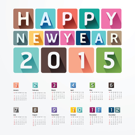 'new year': 2015 Calendar  2015  Happy new year. Calendar  design. creative paper fonts style Illustration