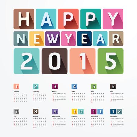 kalendarz: 2015 Kalendarz  2015 Szczęśliwego nowego roku. Projekt kalendarza. Papier kreatywny styl czcionki