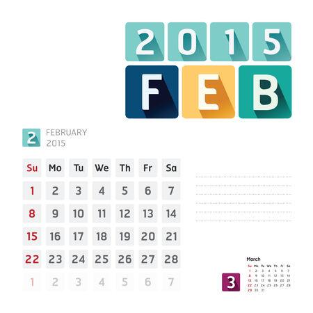 2015 Calendar Calendar Design. February Vector