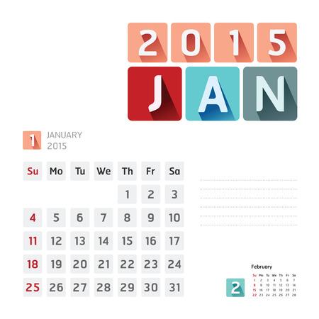 2015 Calendar Calendar Design. January Vector
