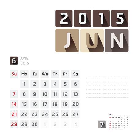 calendar design: 2015 Calendar Calendar Design. June Illustration