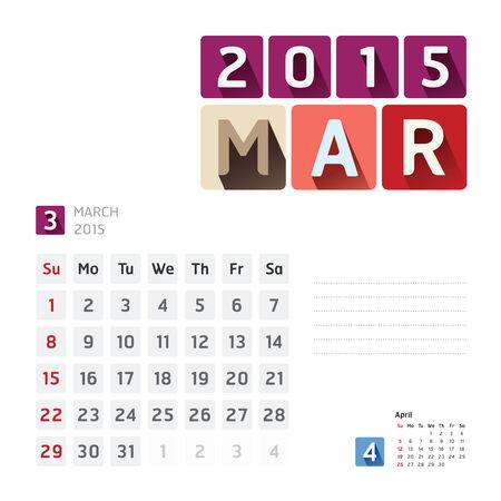 2015 Calendar Calendar Design. March Vector