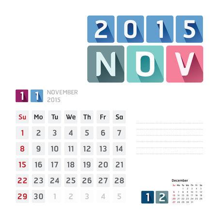 2015 Calendar Calendar Design. November Vector