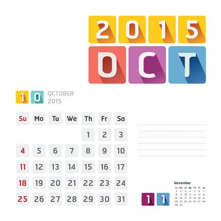 2015 Calendar Calendar Design. October Vector