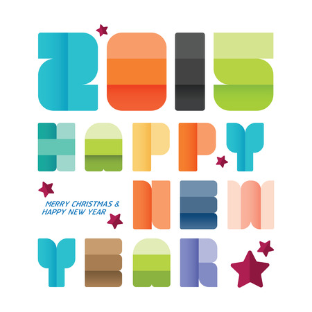 2015  Happy new year. greeting card design. creative paper fonts style