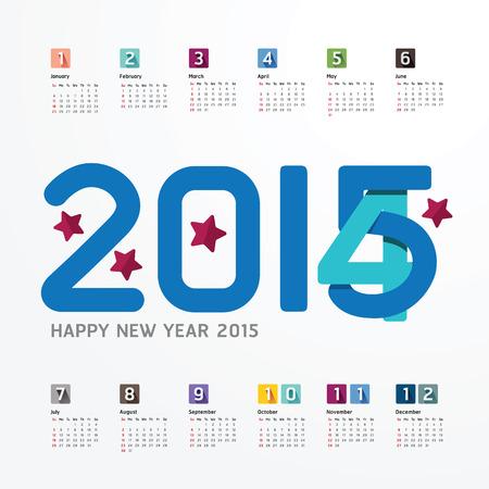 table calendar: 2015 Calendar  2015  Happy new year. Calendar  design. creative paper fonts style Illustration