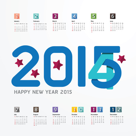 2015 Calendar  2015  Happy new year. Calendar  design. creative paper fonts style Illustration