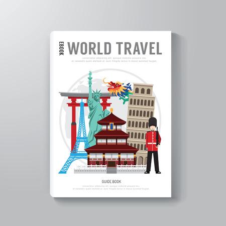 世界の旅行ビジネス ブック テンプレート デザイン。E 本カバーを使用することができますメール マガジン カバー ベクトル イラスト。