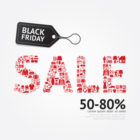 sale icons: Sale Discount Icons Styled .Black Friday Advertising Price Tag Banners. Vector