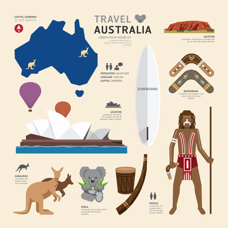 여행 개념 호주 랜드 마크 플랫 아이콘 디자인 벡터 일러스트