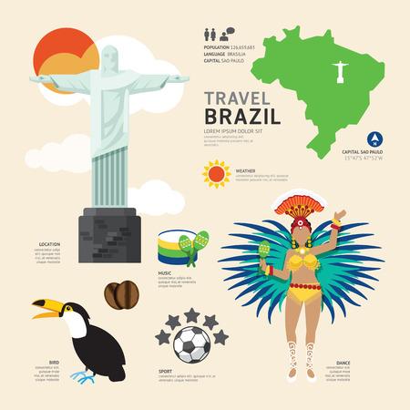 carte: Voyage Concept Brésil Landmark plates Icônes Conception .Vector Illustration