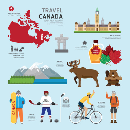 map of canada: Travel Concept Canada Landmark Flat Icons Design .Vector Illustration