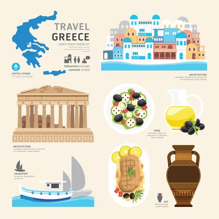 Travel Concept Řecko Landmark Ploché ikony designu .Vector ilustrace Ilustrace