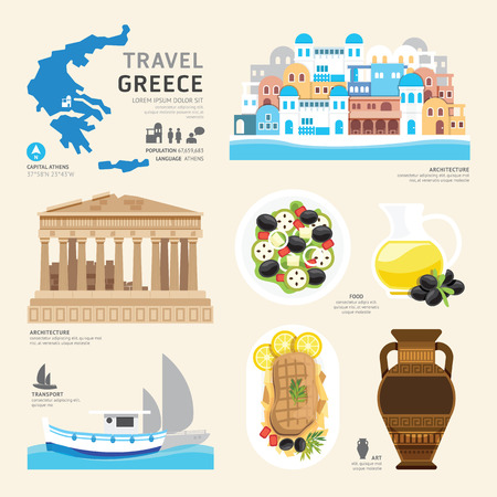 vasi greci: Travel Concept Greece Landmark piatti icone del design .Vector Illustration Vettoriali