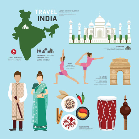 travel map: Travel Concept India Landmark Flat Icons Design .Vector Illustration