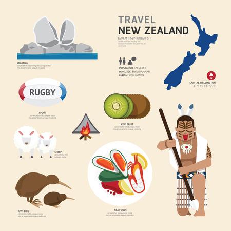 コンセプト ニュージーランド ランドマーク フラット アイコン デザインを旅行します。ベクトル イラスト