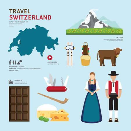 여행: 여행 개념 스위스 랜드 마크 플랫 아이콘 디자인 벡터 일러스트 일러스트