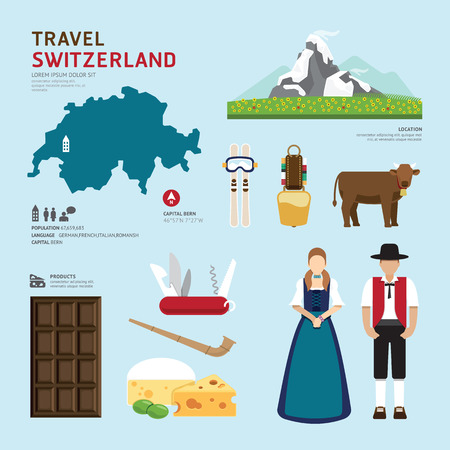 Travel Concept Švýcarsko Landmark Ploché ikony designu .Vector ilustrace