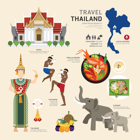 Travel Concept Thailand Landmark Flat Icons Design .Vector Illustration Çizim