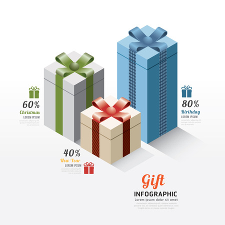 Modern gift box infographics elements.