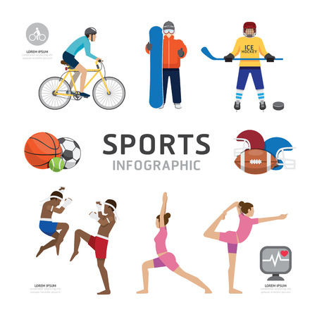 Infographic Health Sport and Wellness Flat Icons Template Design . Concept Vector Illustration Vector
