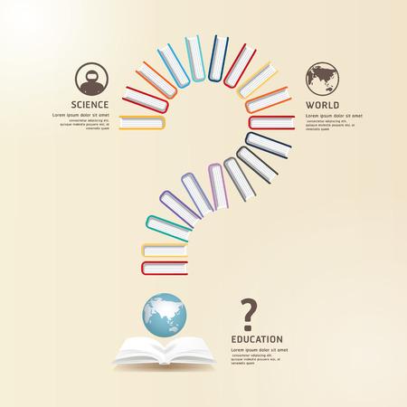 education concept: Questions  Books Education Design .