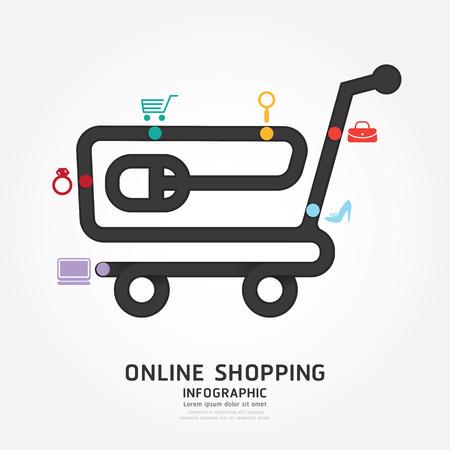 compras: infograf�a vector de las compras en l�nea plantilla estilo de l�nea diagrama de dise�o Vectores