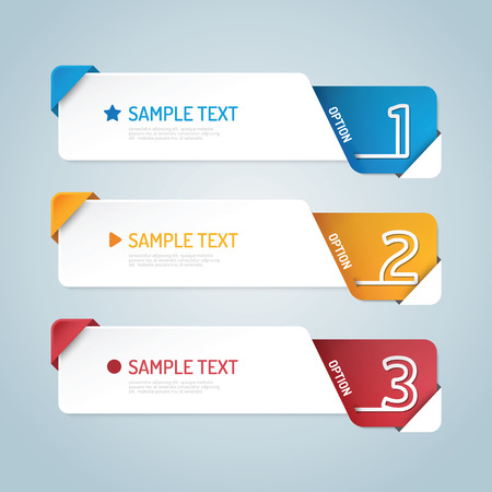 Banners set number modern design vector. Stock Illustratie