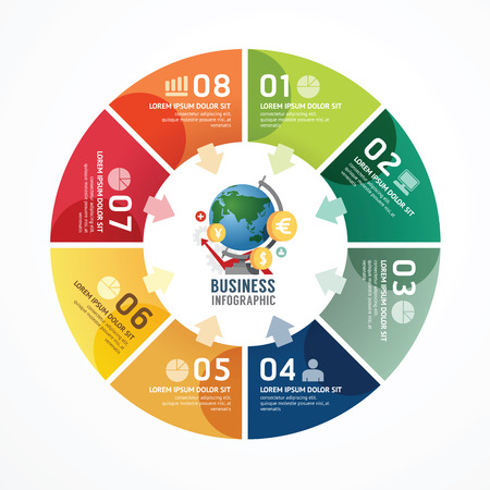 Vector circle infographics business design template/ can be used for infographics / number banner / number options /concept graphic or web design layout. Vector Illustration