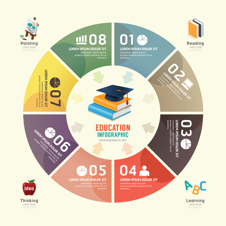 graduate: Vector circle infographics education graduation design template can be used for infographics  number banner  number options concept graphic or web design layout. Illustration