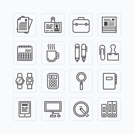 office tools: Vector flat icons set of business office tools outline concept.