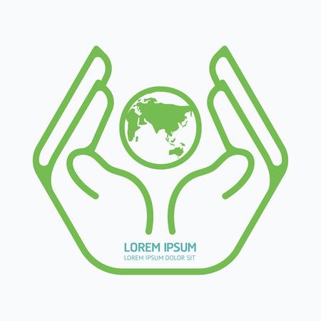 safe world: Hand holding world. design,safety care concept,on white background, vector illustration.