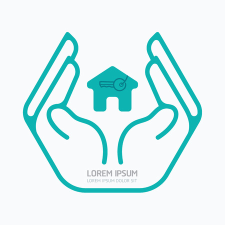 care: Hand holding house.flat design,safety care concept,on white background, vector illustration.
