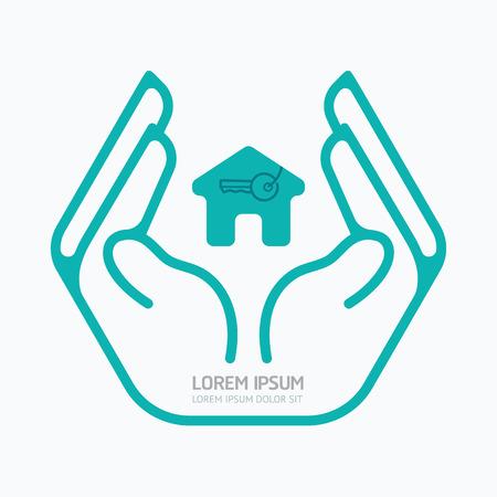 Hand houden house.flat design, veiligheid zorg concept, op een witte achtergrond, vector illustratie.