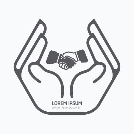modern business: Hand holding business. design,safety care concept,on white background, vector illustration.